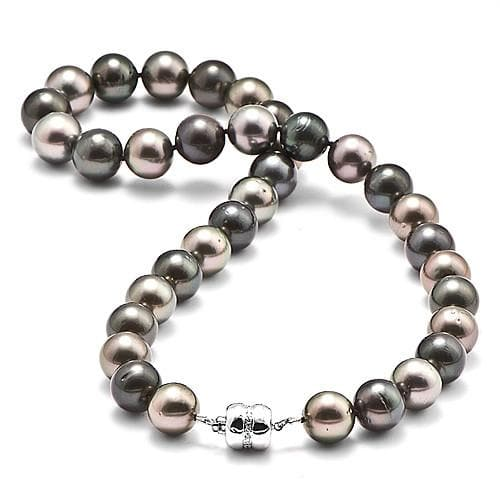 Tahitian Black Pearl Strand with Diamonds in 14K White Gold (11-12mm)