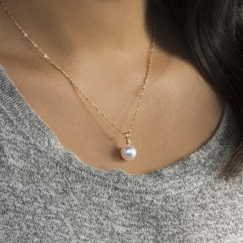 South Sea White Pearl Pendant with Diamond in 14K Yellow Gold (9-10mm) - Maui Divers Jewelry