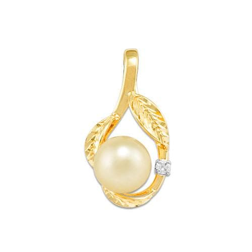 South Sea Golden Pearl Pendant with Diamond in 14K Yellow Gold (9-10mm)