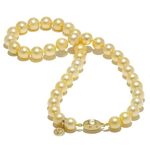 South Sea Golden Pearl Strand with Diamonds in 14K Yellow Gold (10-11mm)