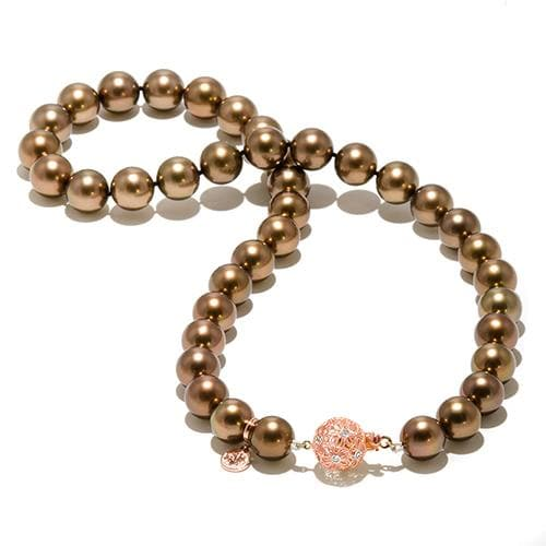 Chocolate Tahitian Pearl Strand in 14K Rose Gold (10-11mm)