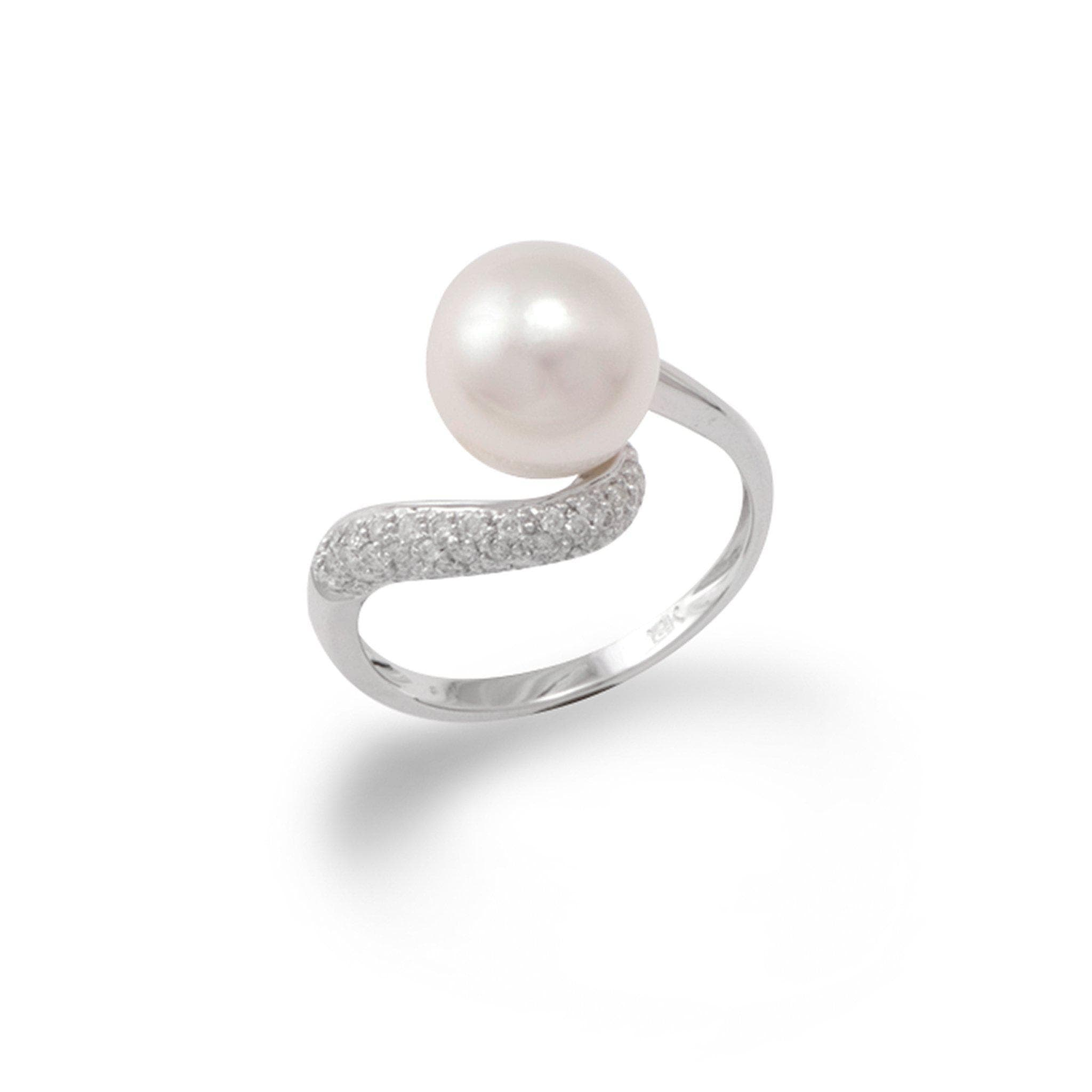 South Sea White Pearl Ring with Diamonds in 14K White Gold (9-10mm)