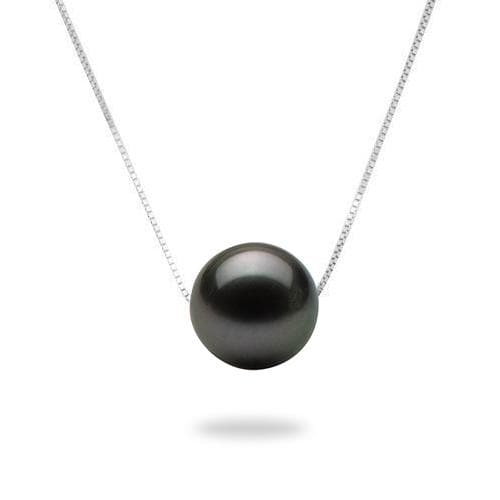 Tahitian Black Pearl Slider Necklace in 14K White Gold (9-10mm)-[SKU]