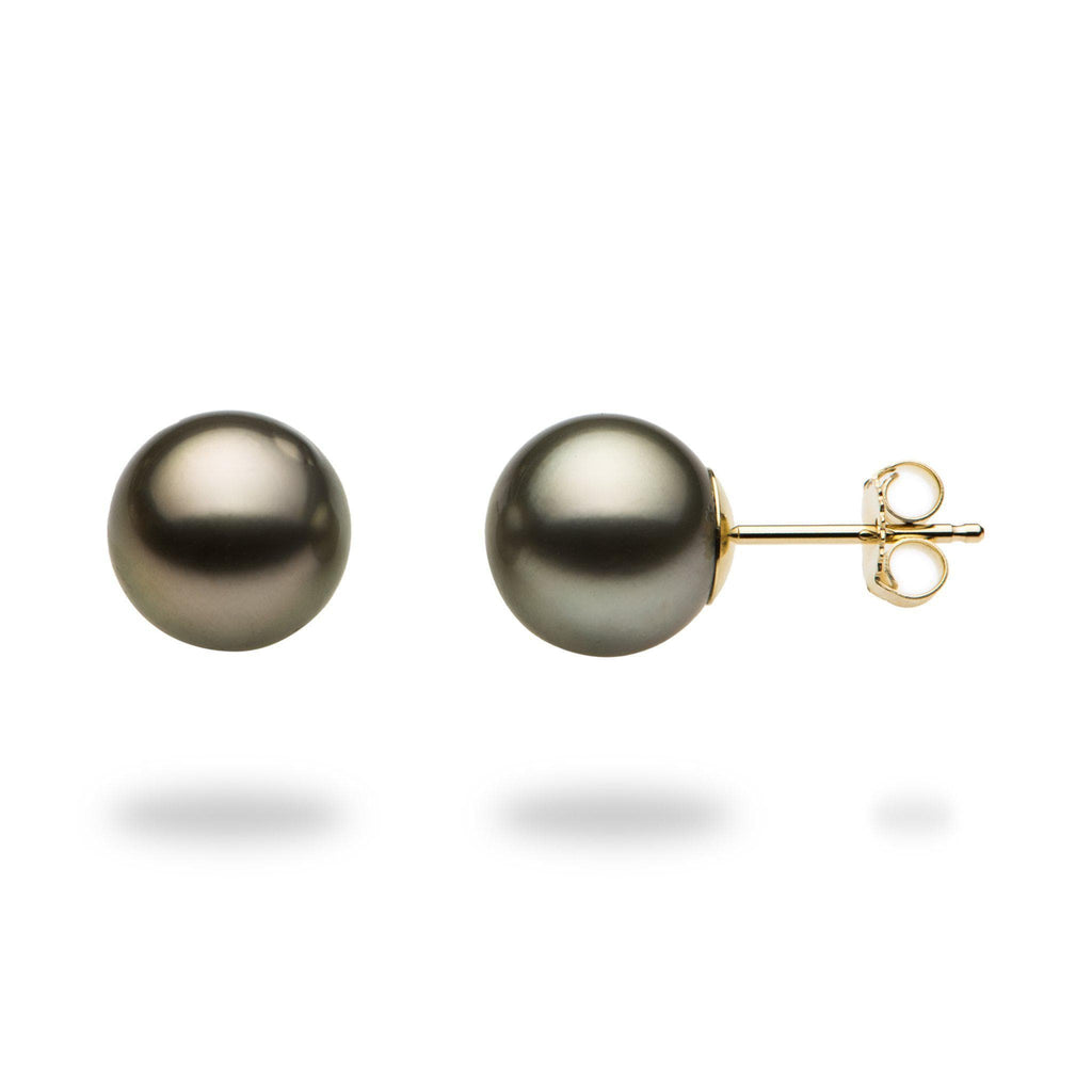 Tahitian Black Pearl Earrings in 14K Yellow Gold (9-10mm)-[SKU]