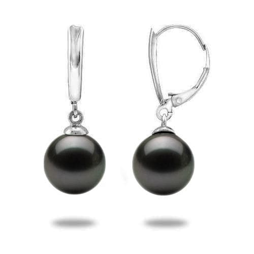 Tahitian Black Pearl Earrings in 14K White Gold (10-11mm)