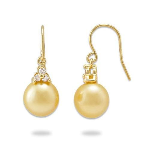 South Sea Golden Pearl Earrings with Diamonds in 14K Yellow Gold (9-10mm)