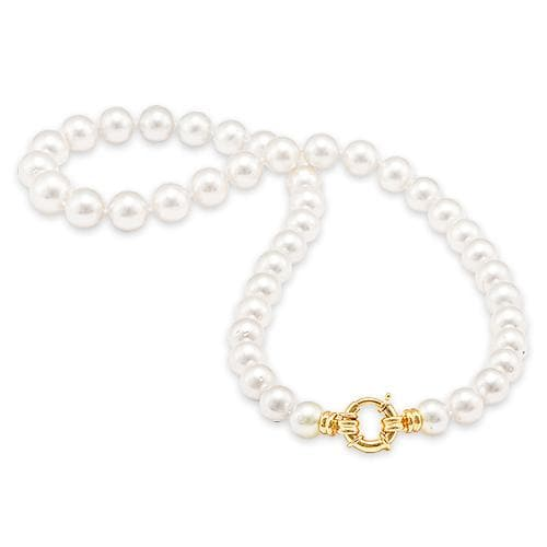 South Sea White Pearl Strand in 14K Yellow Gold (9-11mm)