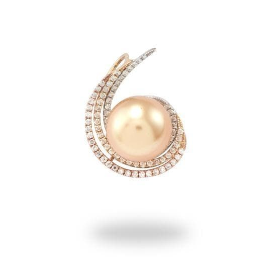 South Sea Golden Pearl Pendant in 14K Three-Tone Gold