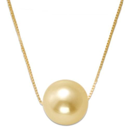 South Sea Golden Pearl Necklace in 14K Yellow Gold (9-10mm)