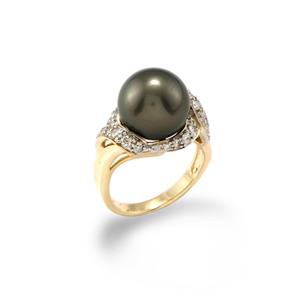 Tahitian Black Pearl Ring with Diamonds in 14K Yellow Gold  (12-13mm)