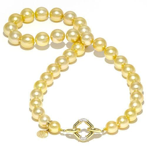 South Sea Golden Pearl Strand with Diamonds in 14K Yellow Gold (9-12mm)