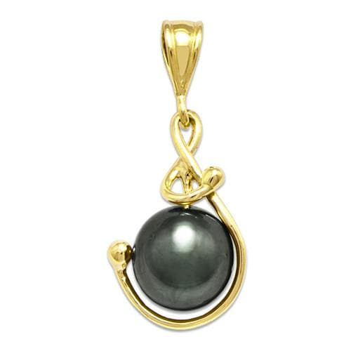 Tahitian Black Pearl Pendant in 14K Yellow Gold (9-10mm)