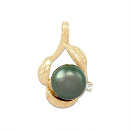Tahitian Black Pearl Pendant with Diamond in 14K Yellow Gold (11-12mm)