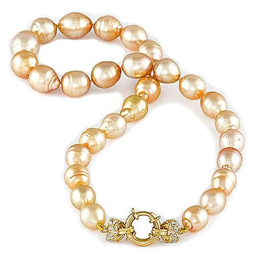 South Sea Golden Pearl (10-13mm) Strand in 14K Yellow Gold
