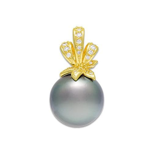 Tahitian Black Pearl Pendant with Diamonds in 14K Yellow Gold (14-15mm)