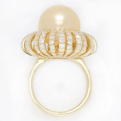 South Sea Golden Pearl Ring with Diamonds in 14K Yellow Gold (13-14mm)