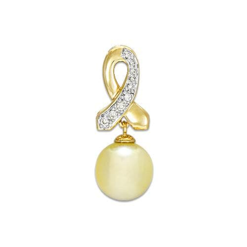South Sea Golden Pearl Pendant with Diamonds in 14K Yellow Gold (10-11mm)