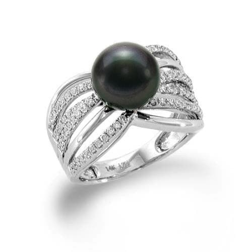 Tahitian Black Pearl Ring with Diamonds In 14K White Gold (9-10MM)-[SKU]