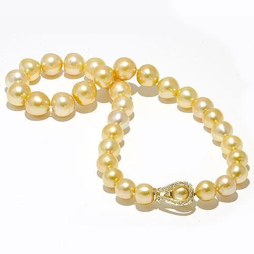 South Sea Golden Pearl Strand with Diamonds in 14K Two Tone Gold (11-14mm)