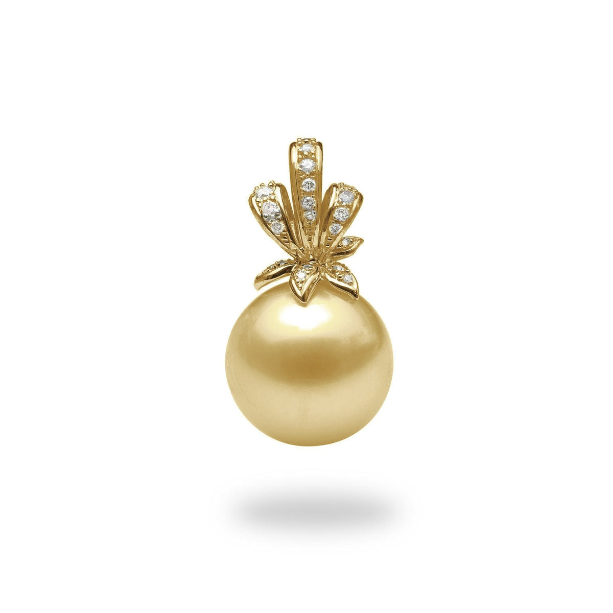 South Sea Golden Pearl Pendant in 14K Yellow Gold with Diamonds