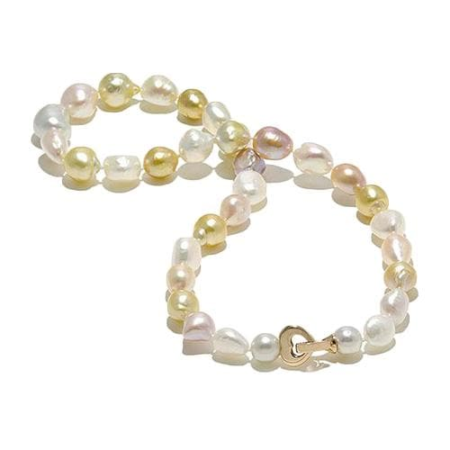 South Sea Golden Pearl & Freshwater Pearl Strand with Diamonds in 14K Rose Gold (9-12mm)-[SKU]