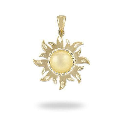 South Sea Golden Pearl 25mm Sun Pendant with Diamonds in 14K Yellow Gold (9-10mm)