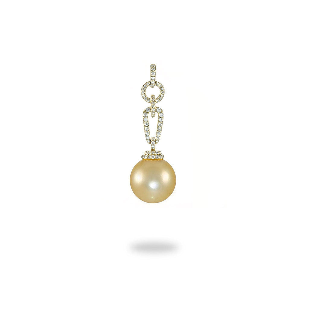 South Sea Golden Pearl Pendant with Diamonds in 14K Yellow Gold
