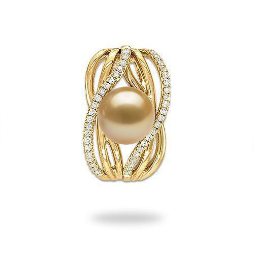 South Sea Golden Pearl Pendant with Diamonds in Gold