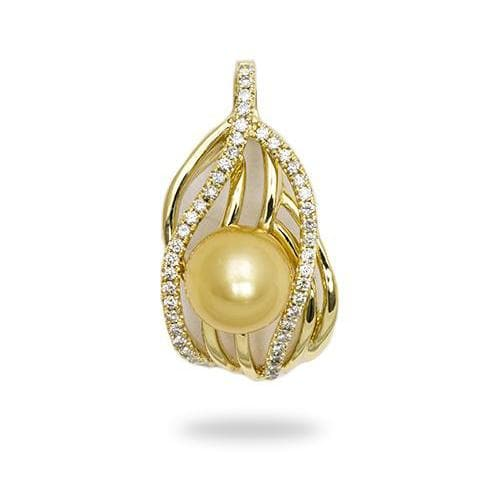 South Sea Golden Pearl Pendant with Diamonds in 14K Yellow Gold-[SKU]
