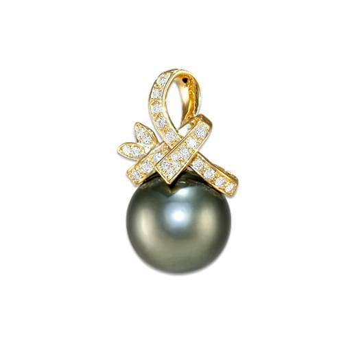 Tahitian Black Pearl Pendant with Diamonds in 14K Yellow Gold (12-13mm)