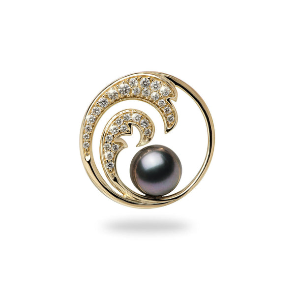 Nalu Tahitian Black Pearl Pendant in Gold with Diamonds - 24mm-Maui Divers Jewelry