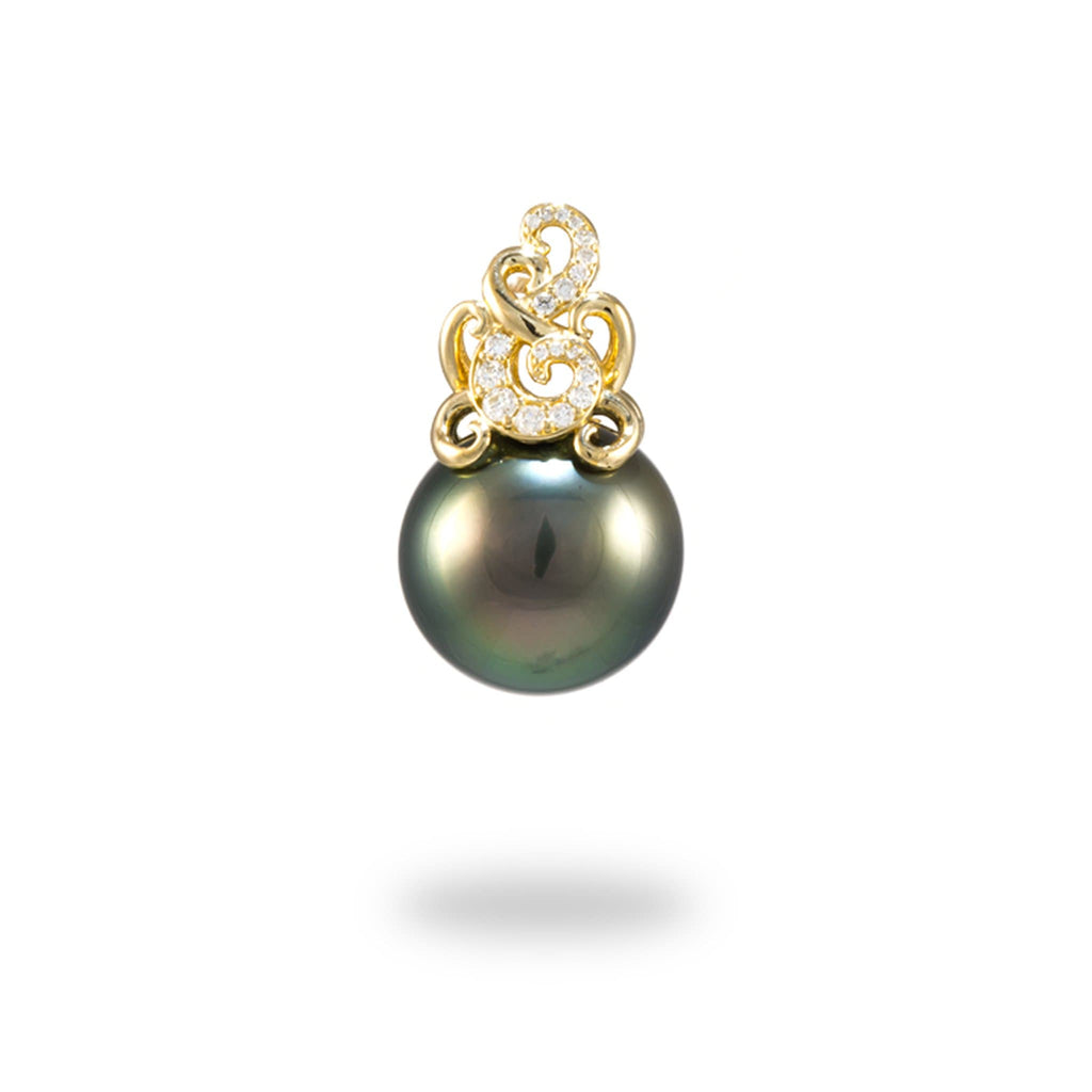 Paisley Tahitian Black Pearl Pendant with Diamonds in 14K Yellow Gold (15-16mm) - Maui Divers Jewelry