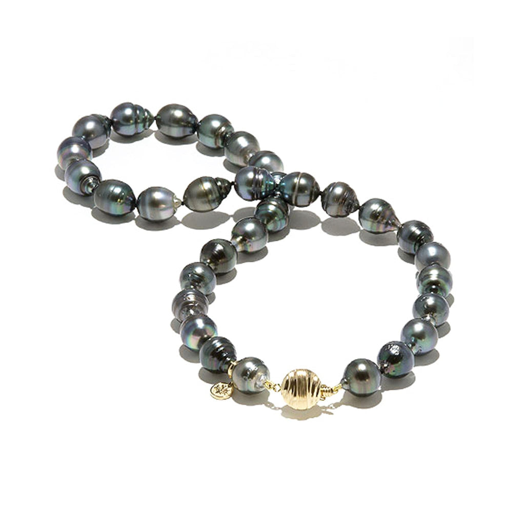 "18"" Tahitian Black Pearl Strand in 14K Yellow Gold (11-12mm) - Maui Divers Jewelry"