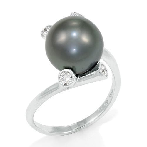 Tahitian Black Pearl Ring with Diamonds in 14K White Gold (10-11mm)