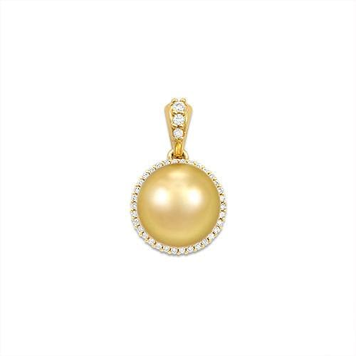 South Sea Golden Pearl Pendant in 14K Yellow Gold (9-10mm)