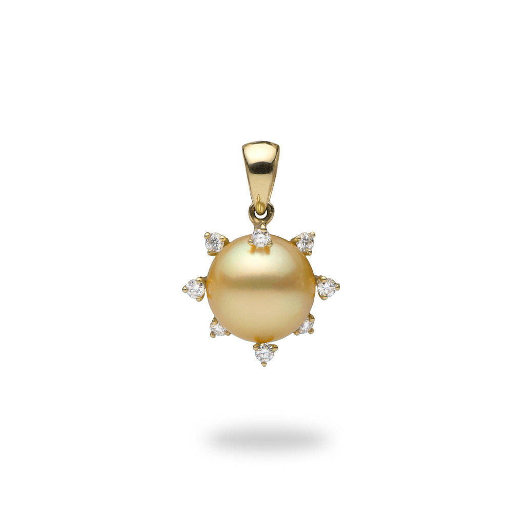 South Sea Golden Pearl Pendant with Diamonds in 14K Yellow Gold (11-12mm)-[SKU]