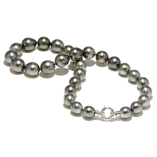 Tahitian Black Pearl Strand in 14K White Gold (12-15mm)