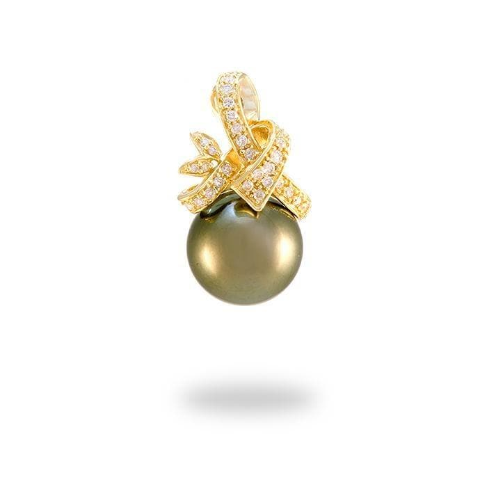 Ribbon Tahitian Black Pearl Pendant with Diamonds in 14K Yellow Gold (13-14mm) - Maui Divers Jewelry