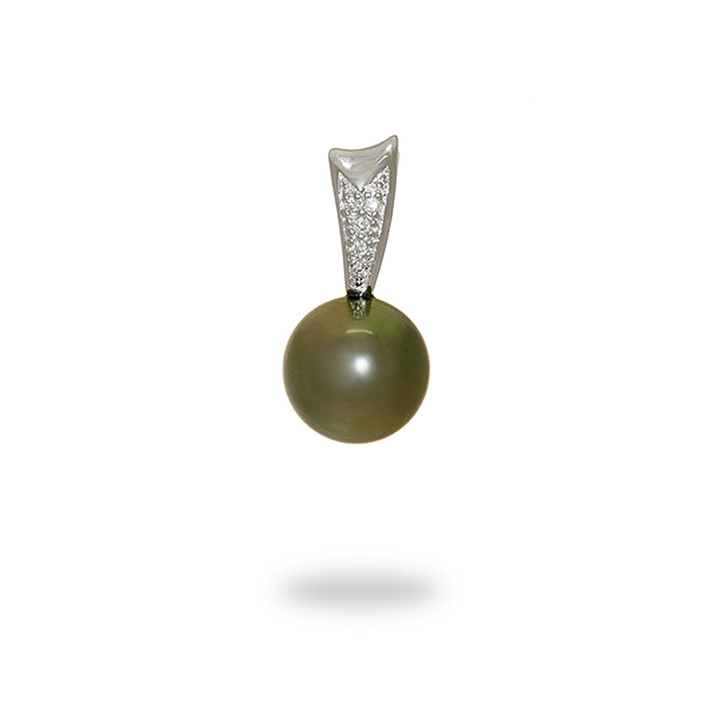 Tahitian Black Pearl Pendant with Diamonds in 14K White Gold (11-12mm) - Maui Divers Jewelry
