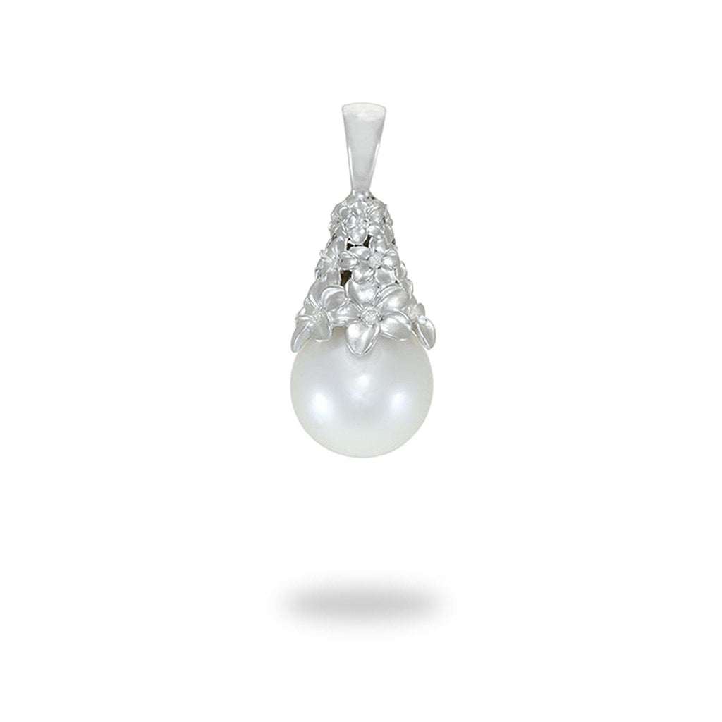 Plumeria South Sea White Pearl Pendant with Diamonds in 14K White Gold (12-13mm)