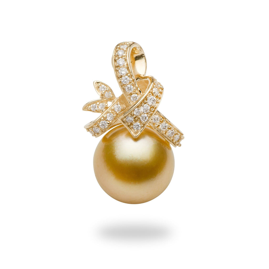 South Sea Golden Pearl Pendant with Diamonds in 14K Yellow Gold(13-14mm)