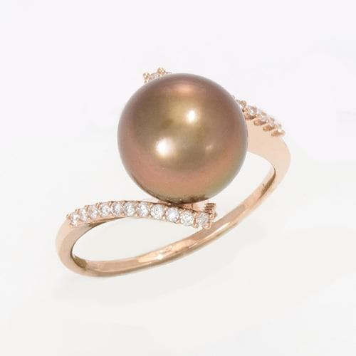 Chocolate Tahitian Pearl with Diamonds in 14K Rose Gold