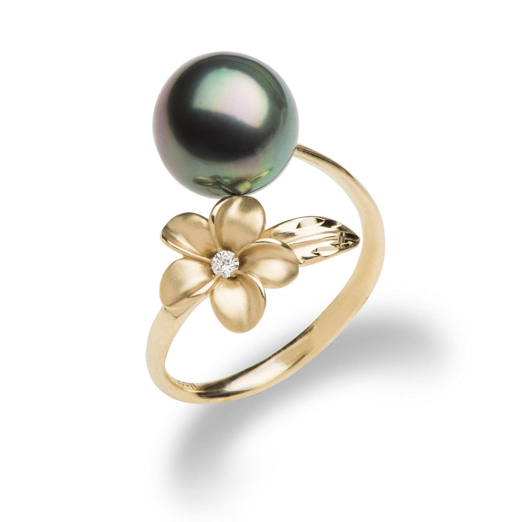 Plumeria Tahitian Black Pearl Ring in Gold with Diamond - Maui Divers Jewelry