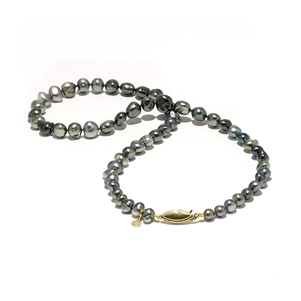 "18-19"" Tahitian Black Keshi Pearl Strand in 14K White Gold (5-5.9mm) - Maui Divers Jewelry"