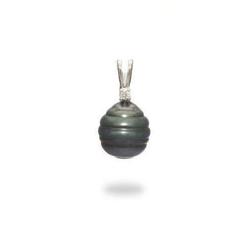 Tahitian Black Pearl Pendant with Diamond in 14K White Gold (9-10mm)