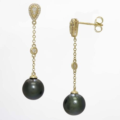 Tahitian Black Pearl Dangling Earrings in 14K Yellow Gold with Diamonds