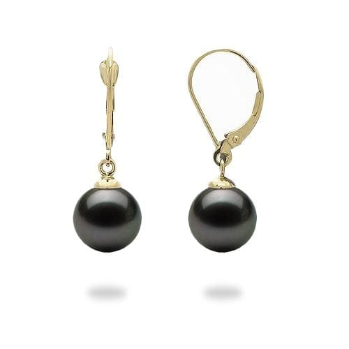 Tahitian Black Pearl (9-10mm) Earrings in 14K Yellow Gold