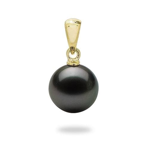 Tahitian Black Pearl Pendant in Gold (9-10mm)-Maui Divers Jewelry