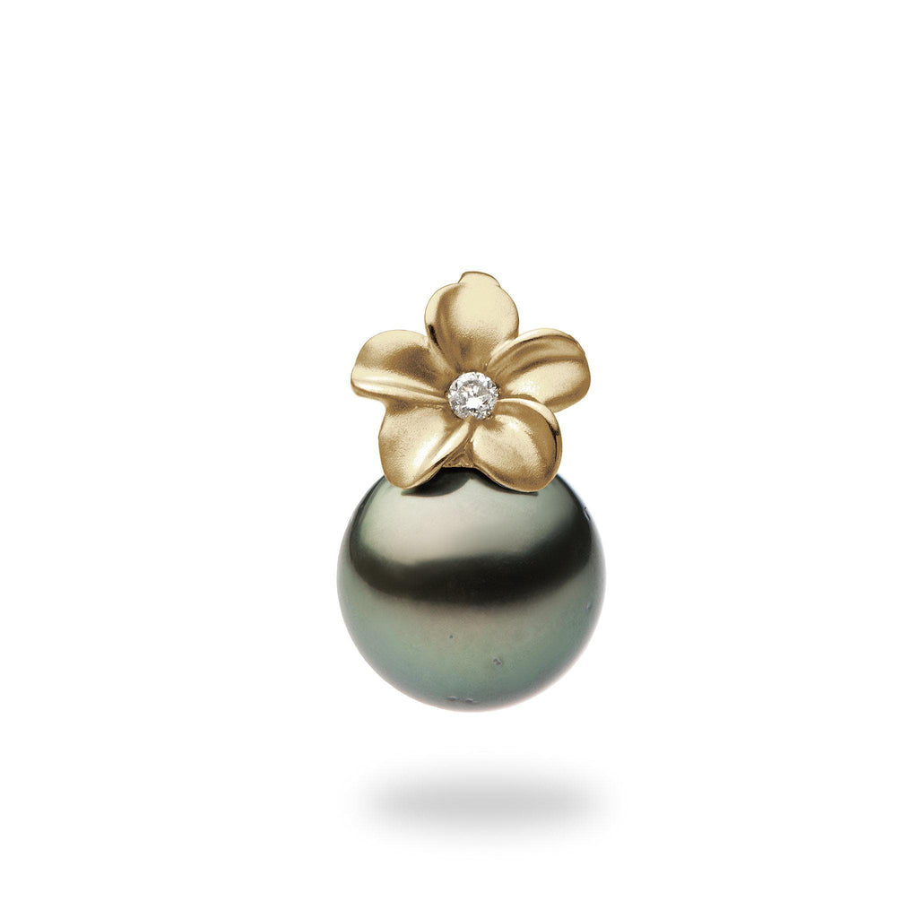 Plumeria Pendant with Tahitian Black Pearl and Diamond in 14K Yellow Gold (9-10mm)