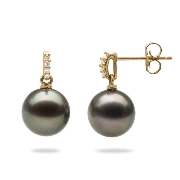 Tahitian Black Pearl Earrings in Gold with Diamonds (9-10mm)-Maui Divers Jewelry